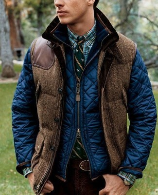 How to wear: navy quilted bomber jacket, brown wool gilet, green plaid long sleeve shirt, burgundy chinos