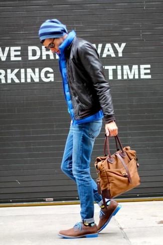 Men's Dark Brown Leather Bomber Jacket, Blue Quilted Gilet, Blue Skinny Jeans, Brown Suede Derby Shoes
