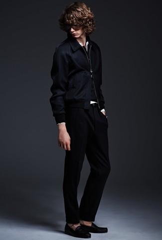 How to wear: navy bomber jacket, black henley sweater, white henley shirt, black dress pants