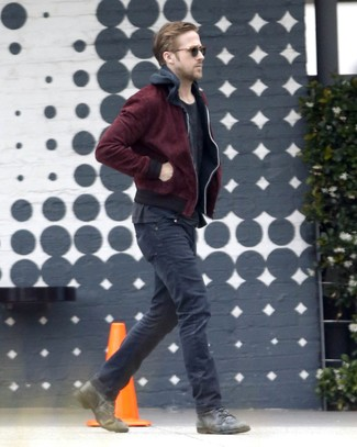 Ryan Gosling wearing Burgundy Bomber Jacket, Black Hoodie, Black Crew-neck T-shirt, Black Jeans