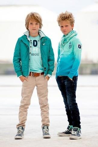 How to wear: teal bomber jacket, light blue denim long sleeve shirt, aquamarine t-shirt, beige jeans
