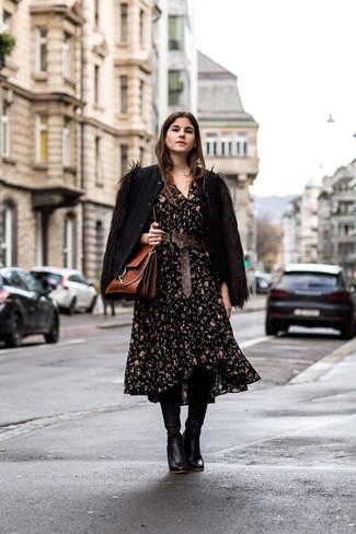 How to wear: black wool bomber jacket, black floral midi dress, black leather knee high boots, brown leather satchel bag
