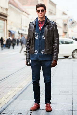 How to wear: dark brown leather bomber jacket, navy and white fair isle shawl cardigan, navy and red plaid flannel long sleeve shirt, navy skinny jeans