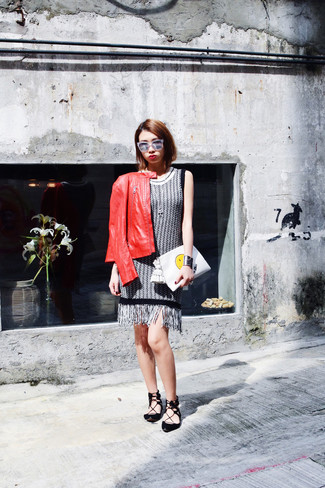 How to wear: red leather bomber jacket, grey tweed shift dress, black suede ballerina shoes, white print leather clutch