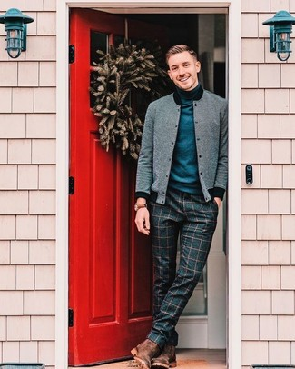 How to wear: grey wool bomber jacket, navy turtleneck, navy check wool dress pants, brown leather chelsea boots