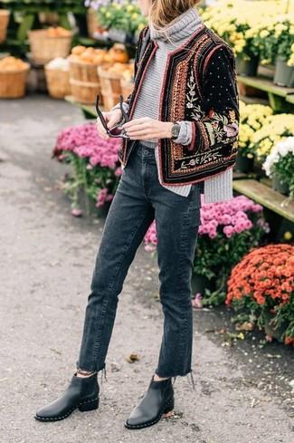 How to wear: black embellished velvet bomber jacket, grey knit turtleneck, charcoal jeans, black leather chelsea boots