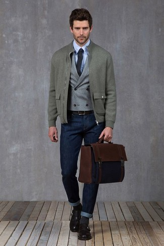 How to wear: grey wool bomber jacket, grey wool waistcoat, light blue dress shirt, navy jeans