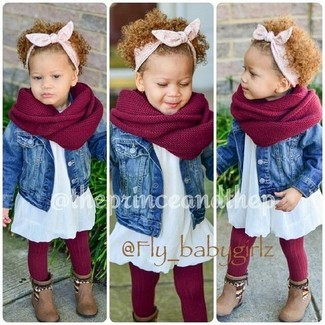 How to wear: red scarf, brown boots, white dress, blue denim jacket