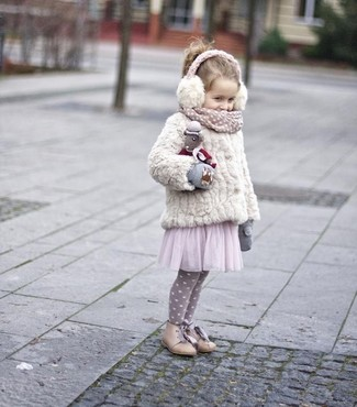 How to wear: grey gloves, beige boots, pink tulle dress, white fur jacket