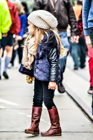 How to Wear a Beige Beanie For Girls: Suggest that your little princess wear a black leather jacket and a beige beanie for a fun day out at the playground. Finish this ensemble with burgundy boots.