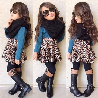 How to Wear a Black Scarf For Girls: Your tot will look cute in a teal long sleeve t-shirt and a black scarf. Black boots are a good choice to complete this ensemble.