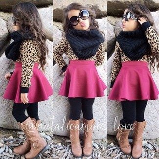 How to Wear a Tan Sweater For Girls: Choose a tan sweater and a hot pink skirt for your little angel for a comfortable outfit that's also put together nicely. Tan boots are a great choice to round off this style.