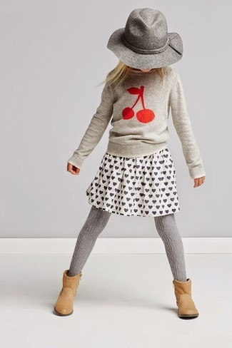 How to wear: grey hat, tan boots, white print skirt, grey print sweater