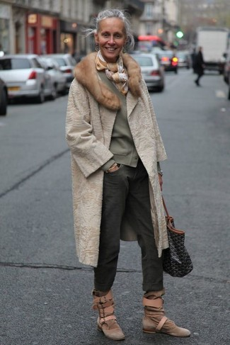 How to wear: brown suede ankle boots, charcoal boyfriend jeans, olive cardigan, beige fur coat