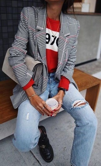 How to wear: black leather chelsea boots, light blue ripped boyfriend jeans, red print crew-neck sweater, white and black houndstooth blazer
