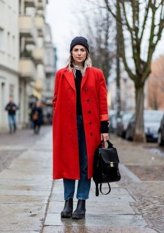 How to wear: black chunky leather ankle boots, blue boyfriend jeans, black crew-neck sweater, red coat
