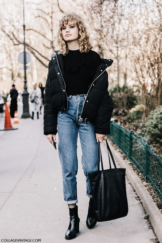 How to wear: black leather ankle boots, blue boyfriend jeans, black ruffle crew-neck sweater, black puffer jacket