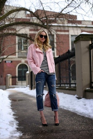 How to wear: black leather pumps, navy ripped boyfriend jeans, white and black horizontal striped crew-neck t-shirt, pink biker jacket