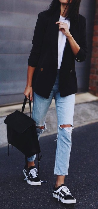 How to wear: black and white low top sneakers, light blue ripped boyfriend jeans, white crew-neck t-shirt, black double breasted blazer