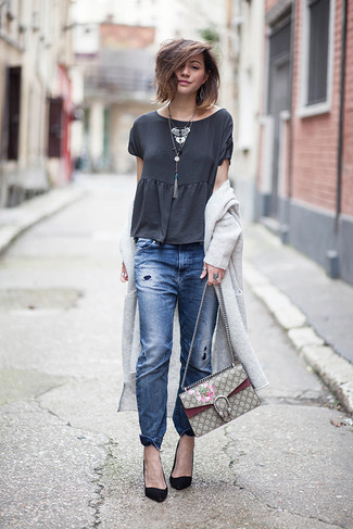 How to wear: black suede pumps, blue ripped boyfriend jeans, charcoal crew-neck t-shirt, grey long cardigan