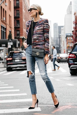How to wear: black suede pumps, blue ripped boyfriend jeans, black crew-neck t-shirt, multi colored tweed jacket