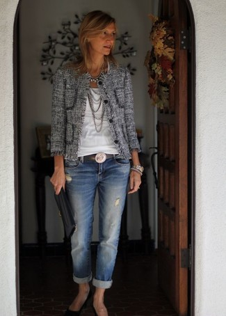 How to wear: black suede pumps, blue ripped boyfriend jeans, white crew-neck t-shirt, grey tweed jacket