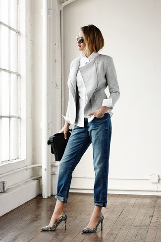 How to wear: black and white print leather pumps, blue boyfriend jeans, white dress shirt, grey wool biker jacket