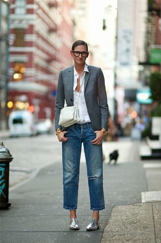 How to wear: silver leather oxford shoes, blue ripped boyfriend jeans, white dress shirt, charcoal blazer