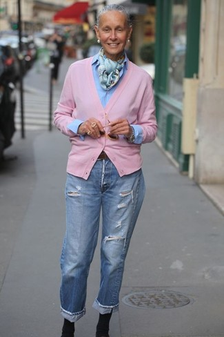 How to wear: black elastic ankle boots, light blue ripped boyfriend jeans, light blue dress shirt, pink cardigan
