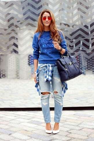 How to wear: white leather pumps, light blue ripped boyfriend jeans, white and blue plaid dress shirt, blue print crew-neck sweater