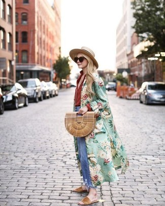How to wear: tan suede flat sandals, blue ripped boyfriend jeans, red dress shirt, green floral duster coat