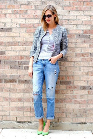 How to wear: green leather pumps, blue ripped boyfriend jeans, grey henley shirt, blue tweed jacket