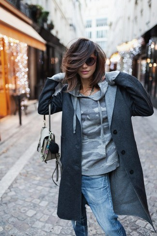 How to wear: beige leather crossbody bag, blue ripped boyfriend jeans, grey camouflage hoodie, charcoal coat
