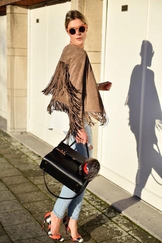 How to wear: orange snake leather pumps, light blue ripped boyfriend jeans, white long sleeve blouse, tan fringe suede biker jacket