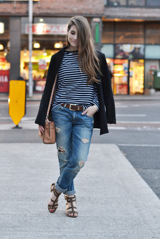 How to wear: dark brown leather gladiator sandals, blue ripped boyfriend jeans, navy and white horizontal striped long sleeve t-shirt, black blazer