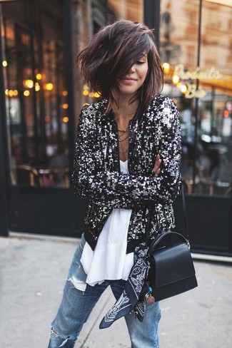 How to wear: black leather crossbody bag, blue ripped boyfriend jeans, white chiffon sleeveless top, black sequin bomber jacket
