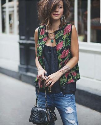 How to wear: black snake leather crossbody bag, blue ripped boyfriend jeans, black sleeveless top, black floral vest