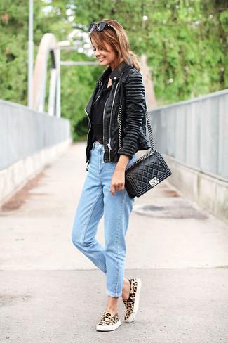 How to wear: tan leopard suede low top sneakers, light blue boyfriend jeans, black crochet tank, black leather biker jacket