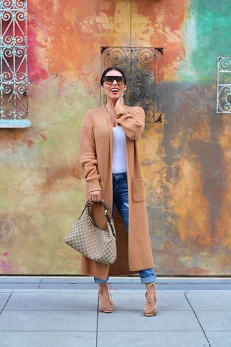 How to wear: tan fringe suede heeled sandals, blue boyfriend jeans, white tank, camel knit coat