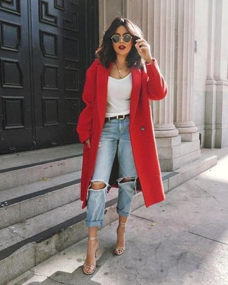 How to wear: silver leather heeled sandals, light blue ripped boyfriend jeans, white tank, red coat