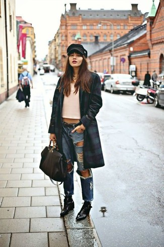 How to wear: black leather lace-up ankle boots, blue ripped boyfriend jeans, pink tank, navy and green coat