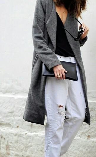 How to wear: black leather clutch, white ripped boyfriend jeans, black tank, grey coat