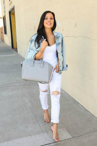 How to wear: grey leather heeled sandals, white ripped boyfriend jeans, white tank, light blue denim jacket