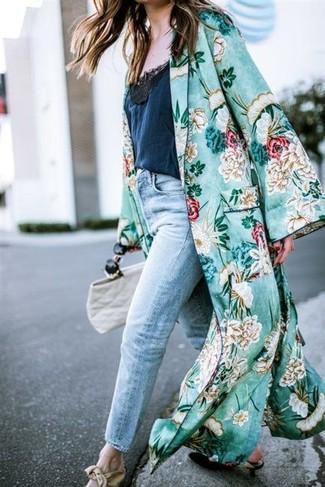 How to wear: black leather pumps, light blue boyfriend jeans, navy lace tank, green floral duster coat