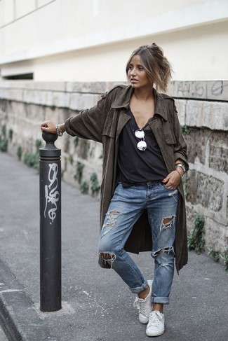 How to wear: white leather low top sneakers, blue ripped boyfriend jeans, black tank, olive lightweight trenchcoat
