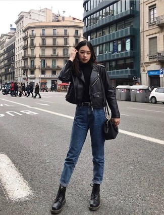 How to wear: black leather lace-up flat boots, blue boyfriend jeans, black turtleneck, black leather biker jacket