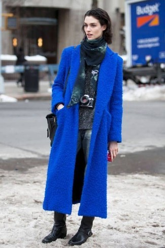 How to wear: black leather mid-calf boots, navy boyfriend jeans, charcoal turtleneck, blue coat