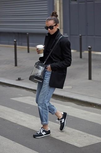 How to wear: black and white athletic shoes, light blue boyfriend jeans, black wool turtleneck, black coat