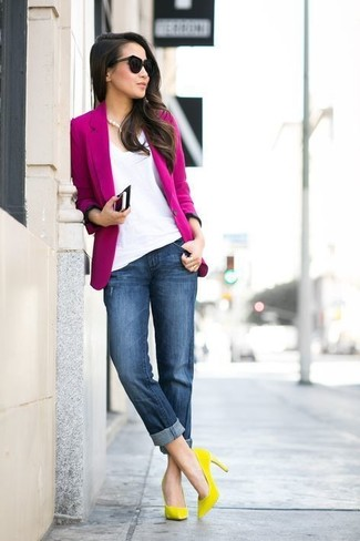 How to wear: yellow suede pumps, navy boyfriend jeans, white v-neck t-shirt, hot pink blazer
