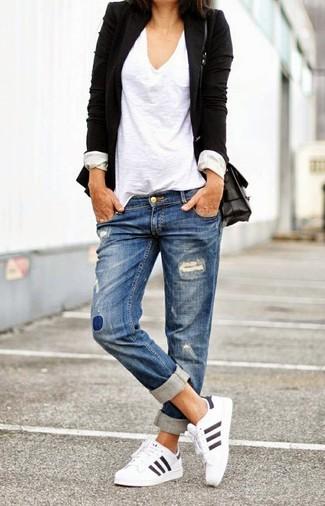Women's White Athletic Shoes, Blue Ripped Boyfriend Jeans, White V-neck T-shirt, Black Blazer